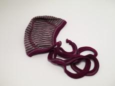 Baby-Häubchen Wolle/Seide Grau/Violett
