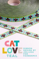 Webband: Cat love blau