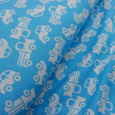 Merinowollstoff Autos blau - ab 50 cm