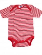 Cosilana Babybody Wolle/Seide (Kurzarm) rot-weiß geringelt