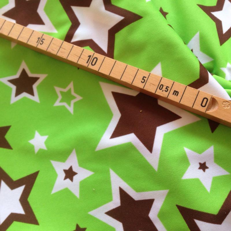 Meterware PUL Sterne auf Grün (ab 20 cm Länge)