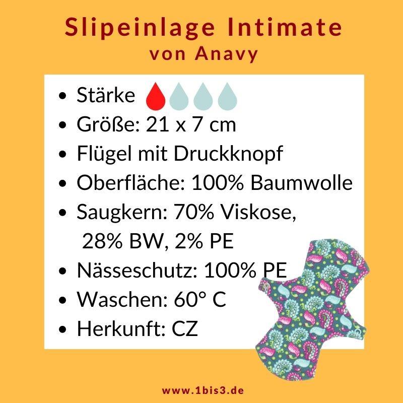 Anavy Slipeinlage Baumwolle (2 St.) + Tasche