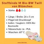 Blümchen Stoffbinde Gr. M Bio-Twill * 26 x 5 cm * 3 St.