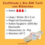 Blümchen Stoffbinde Gr. L Bio-Twill * 30 x 5 cm * 3 St.