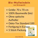 Mullwindel Bio-Baumwolle 70x70 cm (5 St. Grünspecht)