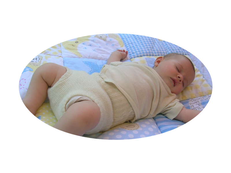Bindewindel mit Wollüberhose - Stoffwindel für Neugeborene